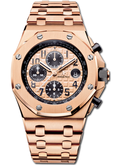 2014 royal oak offshore chronograph pink gold on bracelet audemars piguet the collection for Royal oak offshore rose gold 42mm