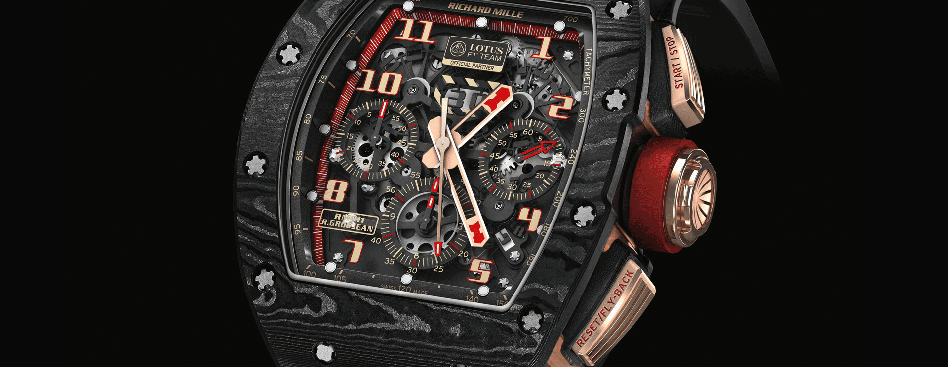 RM011 NTPT CARBON ROSE GOLD ROMAIN GROSJEAN LOTUS F1 FLYBACK CHRONOGRAPH