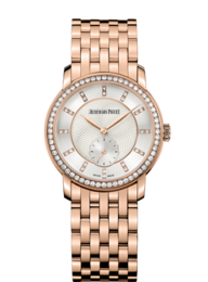 JULES AUDEMARS LADIES ROSE GOLD WITH DIAMOND BEZEL ON BRACELET