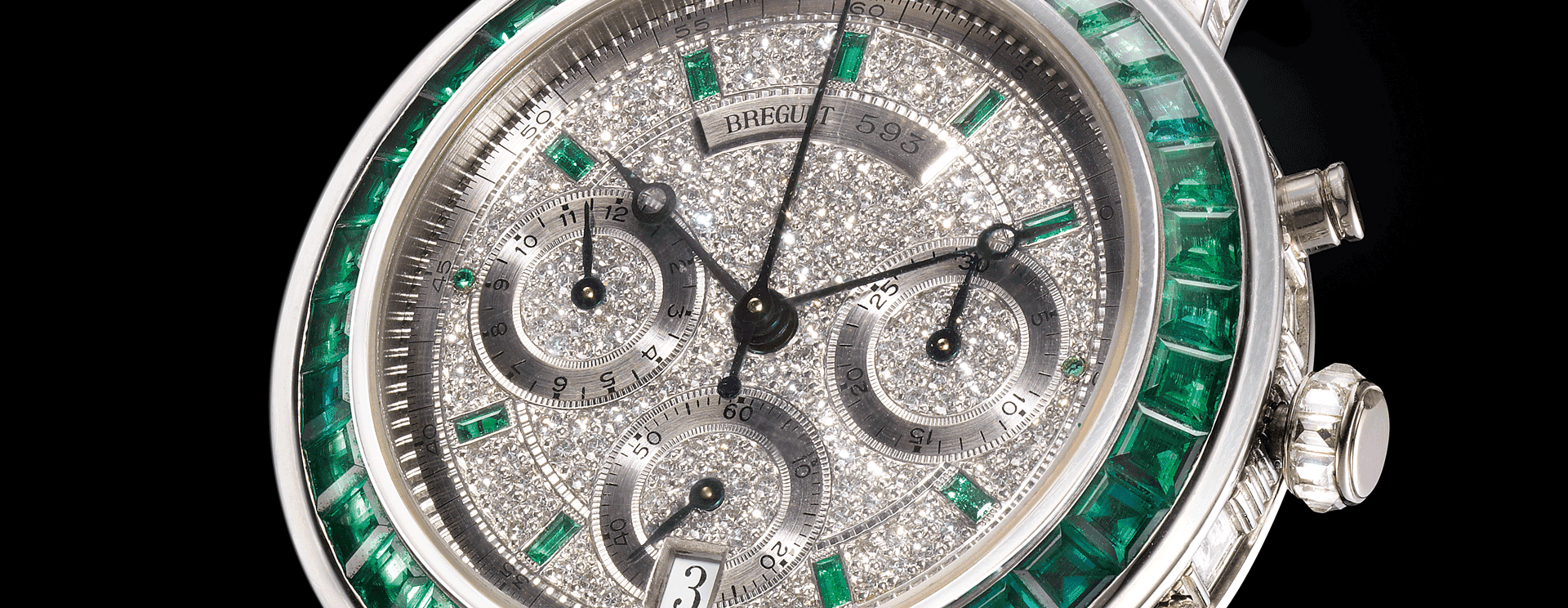 MARINE CHRONOGRAPH EMERALD AND DIAMOND SET UNIIQUE PIECE